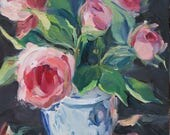 Old English Roses....an original oil painting by South Carolina artist Linda Hunt...WET...WET...WET