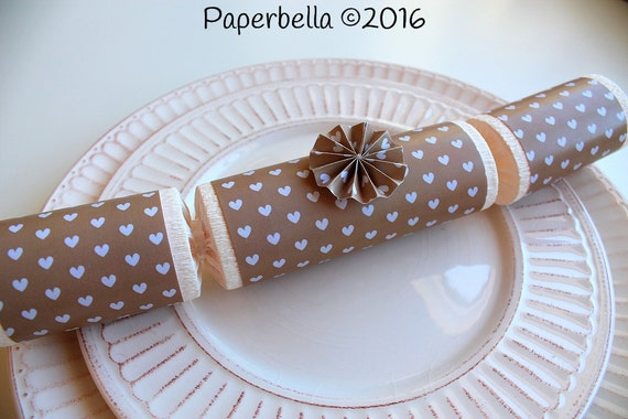 Fill Your Own Party Crackers Wedding Valentines Kraft Paper White Hearts Party Popper, Personalize with Your Monogram and a Paper Rosette