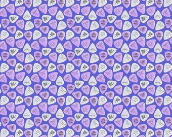 Purple Guitar Pick Fabric - Ultraviolet Plectrum By Louiseisobel - Retro Rock and Roll Music Cotton Fabric By The Yard With Spoonflower