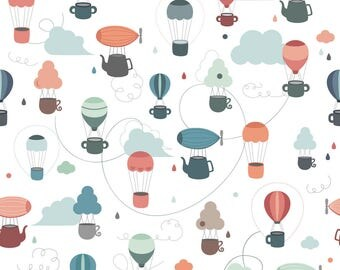 Flying Cups Fabric - Flying Cups By La Fabriken - Hot Air Balloon Nursery Decor Cotton Fabric By The Yard With Spoonflower
