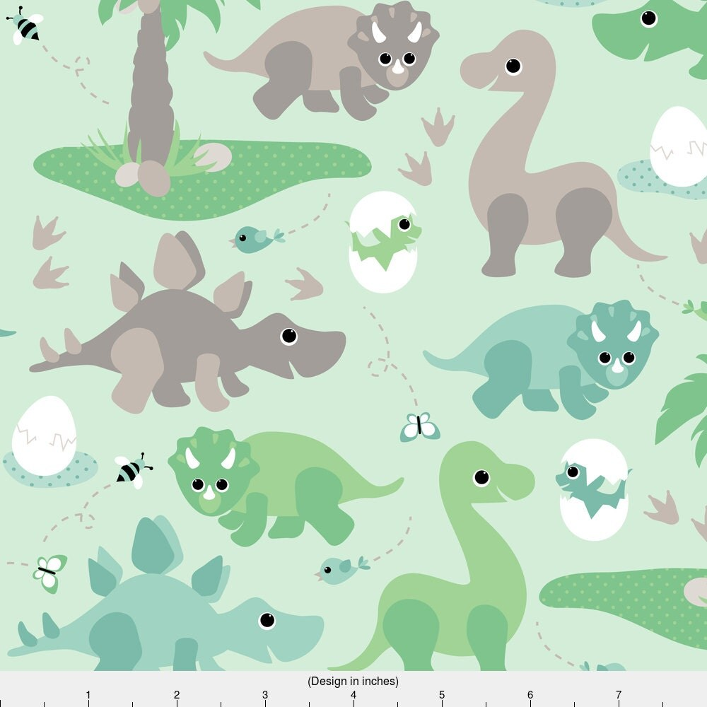 Dinosaur fabric baby dinosaurs by heleenvanbuul green for Dinosaur fabric