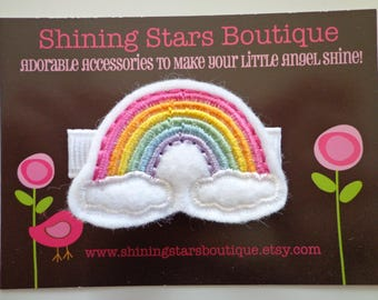 Hair Accessories - Felt Hair Clip - Bright Summer Rainbow With Clouds Boutique Embroidered Hair Clippie For Girls