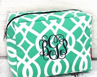 Mint Trellis makeup bag , monogrammed makeup bag , bridesmaid makeup bag , personalized makeup bag