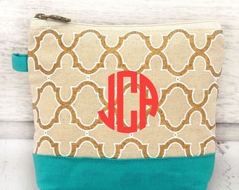 natural gold and Turquoise  cosmetic bag , bridesmaid make-up bags, monogrammed bag, wedding bag , bridesmaid gifts