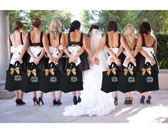 10 bridal party tote bags , bridesmaid gifts , personalized tote bag ,  bachelorette party gift, bridal party gifts