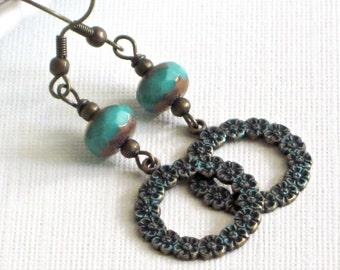 Patina Hoop Earrings - Flower Earrings, Czech Glass, Brass, Floral Jewelry