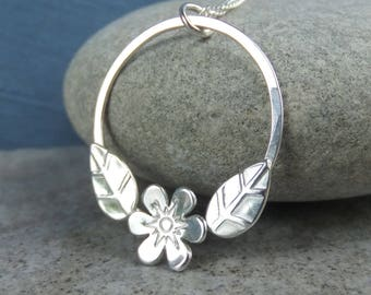 Flower and Leaves Circle Sterling Silver Pendant - Handmade Metalwork Necklace - Garden Themed Floral Collection