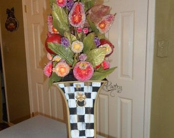 Custom painted planter with sugared fruit & iron trellis