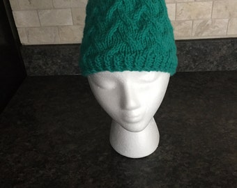 Hand Knit Cabled Hat for Woman