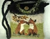 Fox Art, Felted Purse, Felted Handbag, Alpaca Purse, Fox Purse, Red Fox, Fiber Art, Needle Felt Fox, Fiber Fox