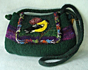 Felted Purse,Felted handbag, bird art, American Goldfinch, needle felt bird, Bird Art, Green Handbag