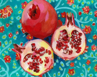 Pomegranate on a floral blue fabric - acrylic ORIGINAL painting on canvas - Drawing Still Life - wall art- wall decor- home decor