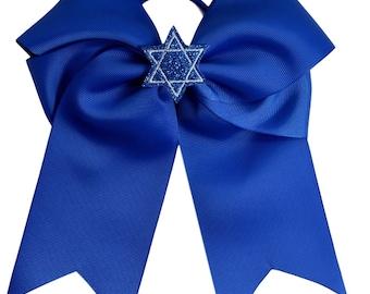 Hanukkah Blue Star of David Glitter 7.5 Inch Hair Bow