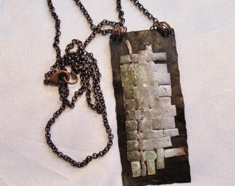 Copper and Enamel necklace,  one of a kind, handmade