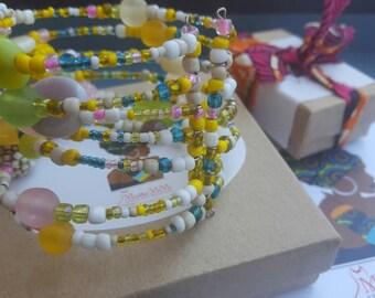 African bead cuff bracelet