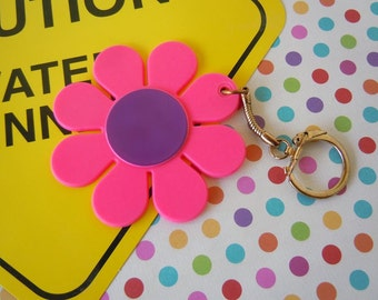 Vintage 1960's Hot Pink and Purple Flower Keychain Daisy Purse Accessory Stocking Stuffer