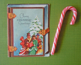 Vintage Unused Christmas Carolers Greeting Holiday Card | Mid Century Christmas Card