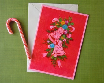 Vintage Unused Christmas Greeting Holiday Card | Mid Century Hot Pink Christmas Bells Card