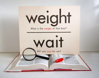 Vintage Giant Word Flashcard   Weight Wait Oar Ore Double Sided 11x14 Homonym Poster Flash Card