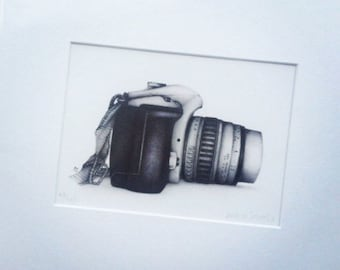 Photographer's dream. Limited edition Giclee print of popular DSLR camera drawing by Andrea Joseph