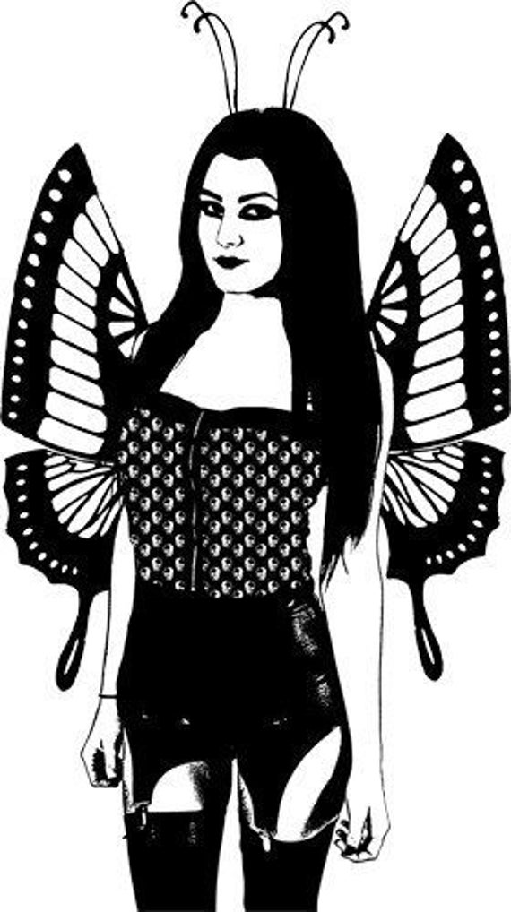 sexy modern goth butterfly fairy woman clipart png clip art pinup girl digital stamp image download graphics designs printable art