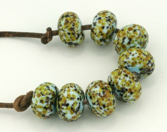 Speckled Robin Eggs Donuts Lampwork Beads (8 count) by Pink Beach Studios - SRA (2236)