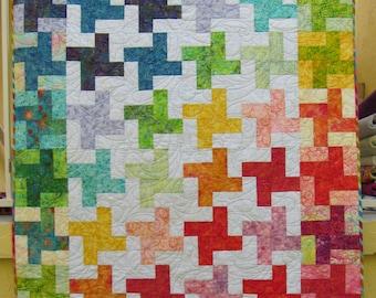 "Bright Rainbow quilt - 47"" x 63"""