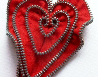 Red Valentine Heart Zipper Pin Brooch  by ZipPinning 3077