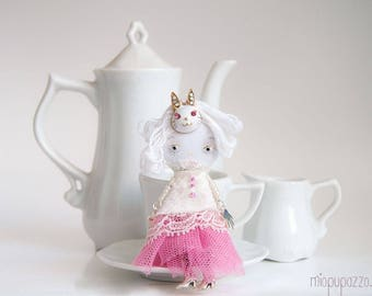 Little Pink Bunny Girl and her Tiny House, Art Doll Brooch