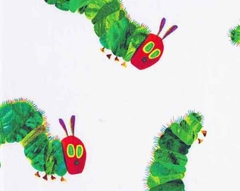 The Very Hungry Caterpillar Cotton Fabric by Andover Fabrics for Makower, Children's Eric Carle Large Hungry Caterpillar Fabric