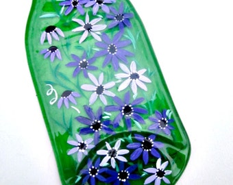 Spoon Rest, Kitchen Trivet,  Melted Green Glass  Bottle,  Hand Painted with Shades of Purple Flowers,  Candle Holder, Painted Glass