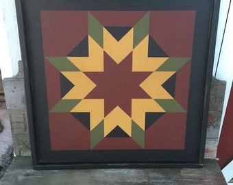 PriMiTiVe Hand-Painted Barn Quilt, Small Frame 2' x 2' - Harvest Star Pattern (Cinder and Saffron Version)