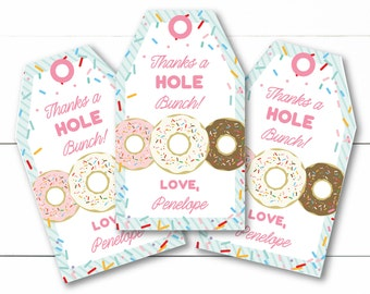 Colorful Sprinkle Donut Breakfast Party Instant Download Editable Decor Party Favor Tags Goody Bag Tags