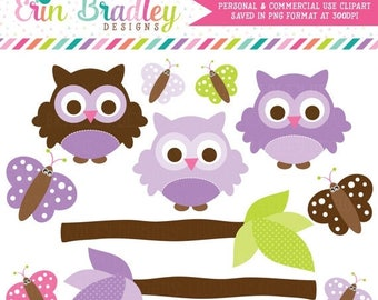 50% OFF SALE Purple Owl Clipart Clip Art Personal & Commercial Use with Butterflies and Branches