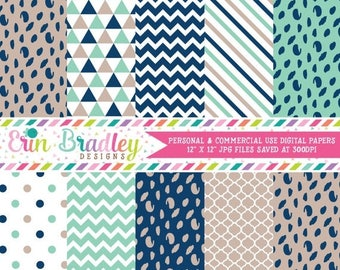 50% OFF SALE Blue and Beige Digital Paper Pack Spotty Dots Stripes & Triangle Patterns