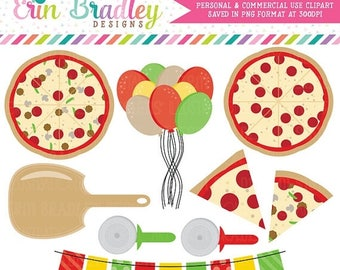 50% OFF SALE Pizza Party Clipart Commercial Use Clip Art Graphics Instant Download