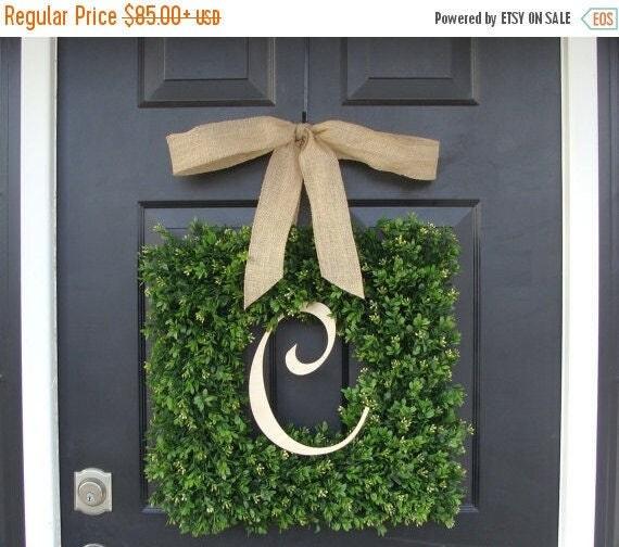 SPRING WREATH SALE Monogram Boxwood Wreath, Boxwood Monogram Wreath with Burlap Bow, Housewarming Gift, Wedding Wreath 16-22 Inch Wreath ava