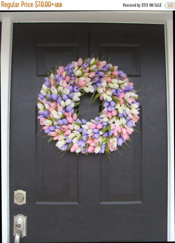 SPRING WREATH SALE Spring Wreath- Wedding Wreath- Original Tulip Wreath- Spring Decor- Spring Decoration