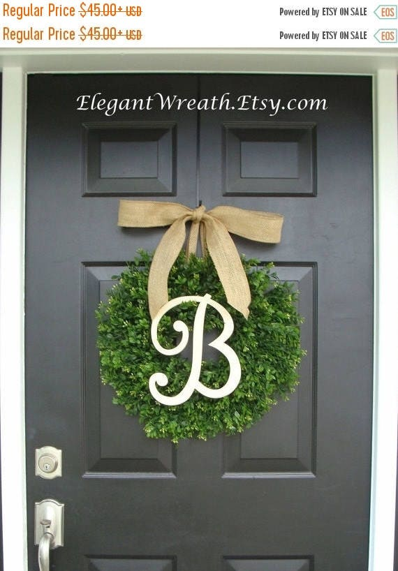 SPRING WREATH SALE Faux Boxwood Wreath, Monogram Wreath, Outdoor Door Wreath, Ready to Ship, Fall Wreaths, Year Round Wreath, Spring Wreath