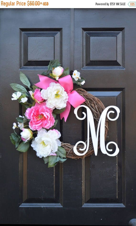 SPRING WREATH SALE Monogram Peony Spring Wreath- Peony Wreath- Door Wreath- Monogram Wreath for Front Door Mother's Day Gift Pink Peonies- W