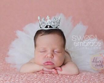 Newborn tutu with tiny tiara,newborn girl, baby girl, baby tutu, baby photo prop, newborn photo, baby girl gift, baby shower gift, new baby
