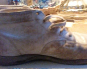 Primitive Distressed Worn Leather Baby Shoes 1950s