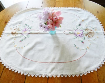 Large White Doily, White Hand Embroidered Centerpiece, Embroidered Doily, Table Topper, Large Lilac Centerpiece