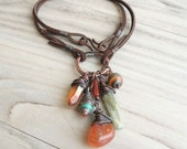 RESERVED for Molly - Nomadic Talisman - Charm Cluster Necklace, Orange and Pale Green, Buddha Necklace, Boho, Handmade