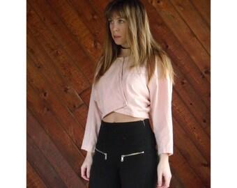 Peachy Pink Cotton l/s Crop Top - Vintage 80s - L/XL
