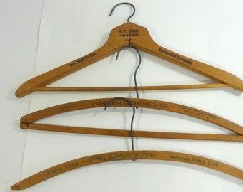 Set of 3 Vintage Wood Hangers -Territory of Hawaii Advertising Dry Cleaning Laundry Hangers Wahiawa Kapiolani Wailuku Hawaiiana Memorabilia