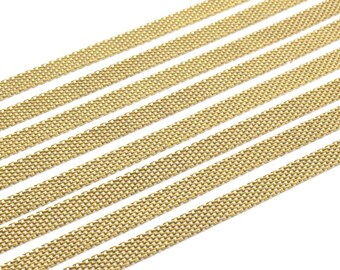 Tiny Mesh Chain, 2 M (7x1mm) Raw Brass Mesh Chain  Z099