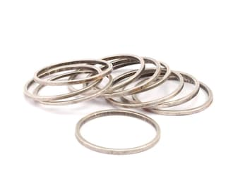 20mm Silver Rings - 24 Antique Silver Brass  Circle Connectors (20mm) BS 1094 H005
