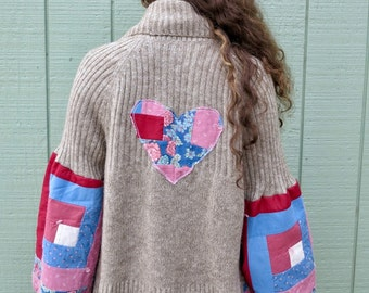 Patchwork Heart Bell Sleeve Knit Circle Hem Hippie Bohemian Gypsy Sweater Cardigan Festival Eco Friendly Pink Brown Womens One Size