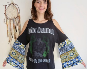 John Lennon Open Shoulder Boho Print Bell Sleeve Eco Friendly Cut Out Open Off The Shoulder The Beatles Upcycled Top Shirt T-shirt One Size